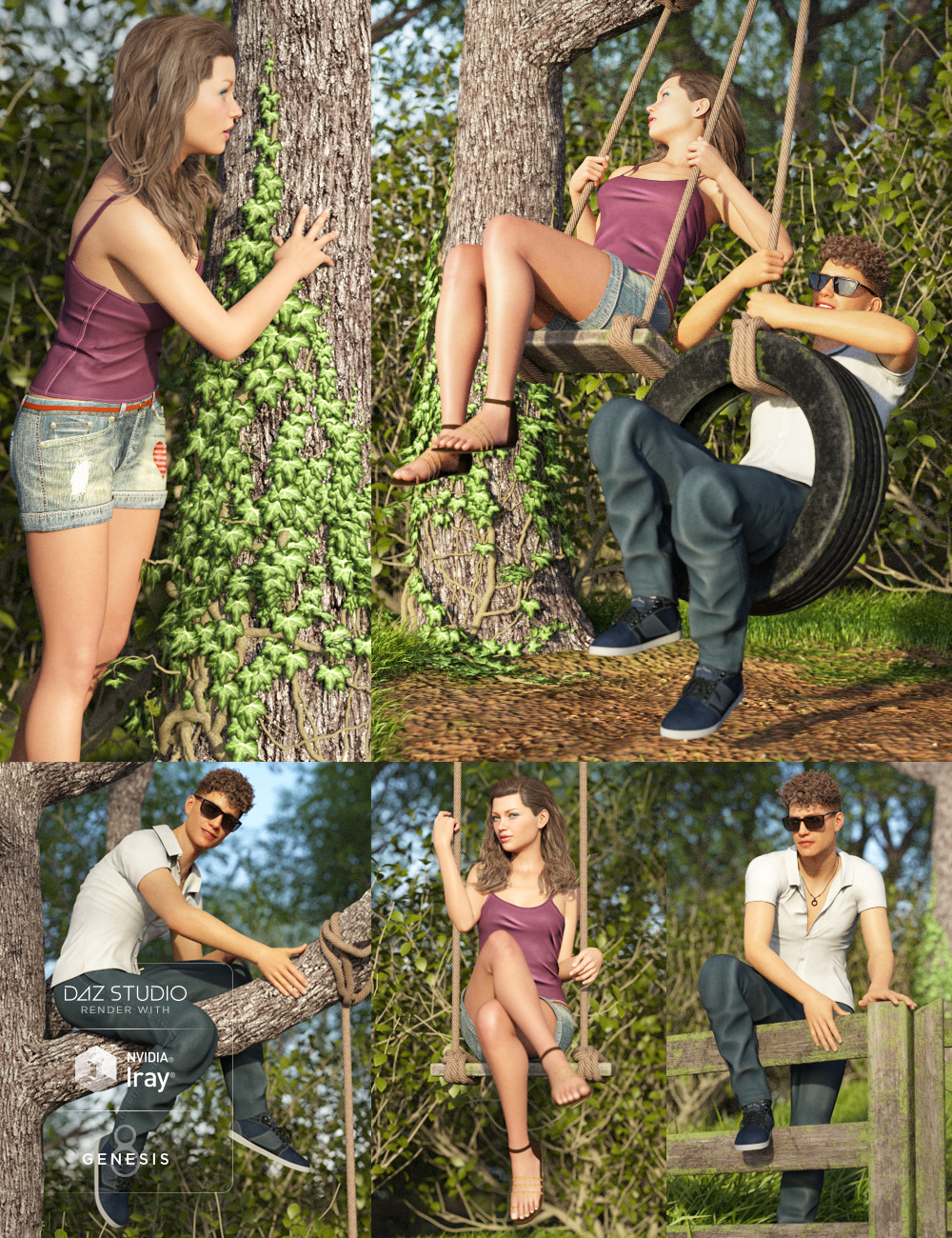 Tree and Swing Scene for Genesis 8 by: Predatron, 3D Models by Daz 3D