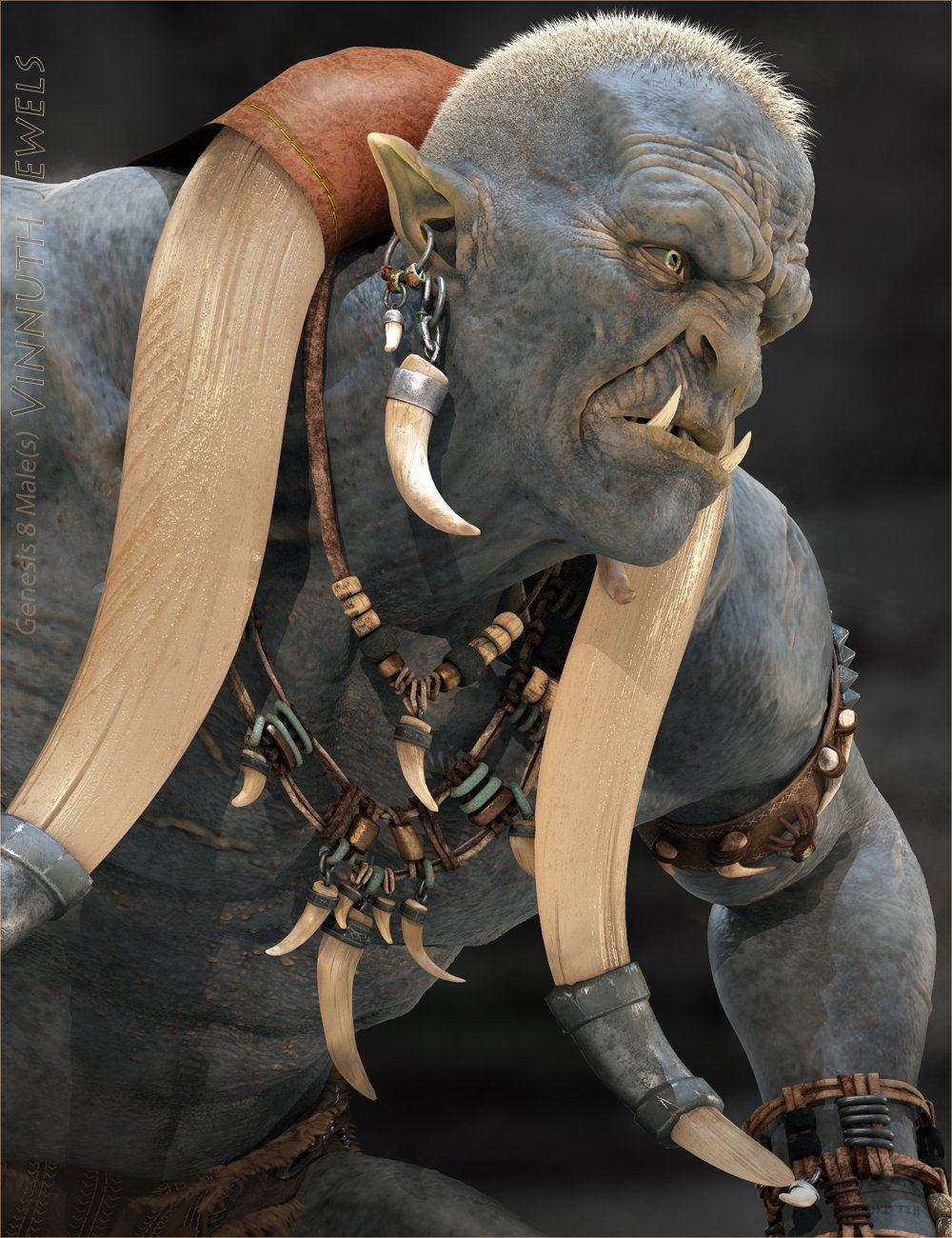 Vinnuth Kriegor Barbarian Jewels for Genesis 8 Male(s) by: BadKitteh Co, 3D Models by Daz 3D