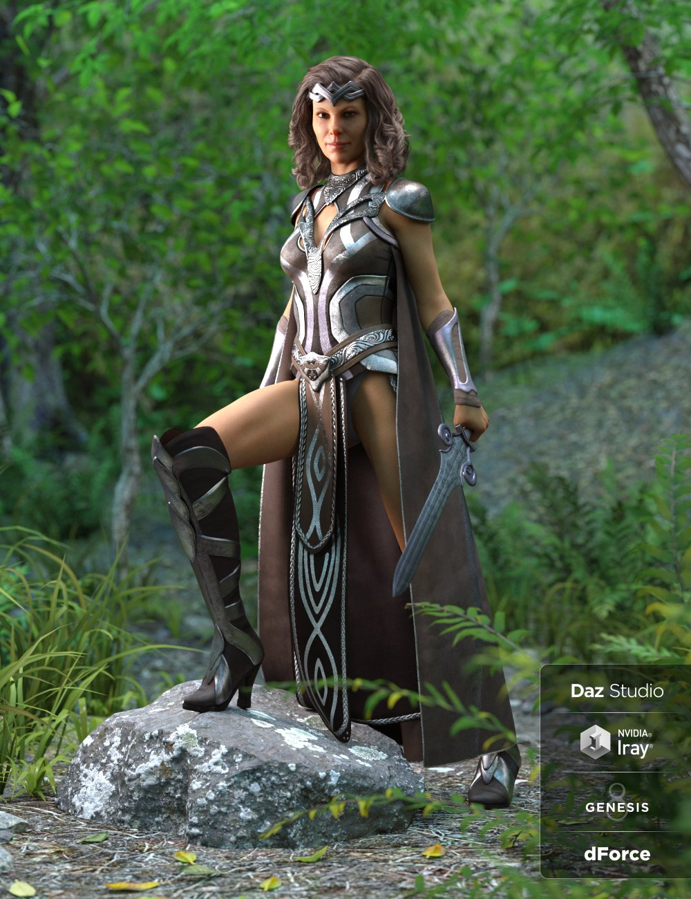 dForce Warrior Queen Outfit for Genesis 8 Female(s) by: LuthbellinaNikisatez, 3D Models by Daz 3D