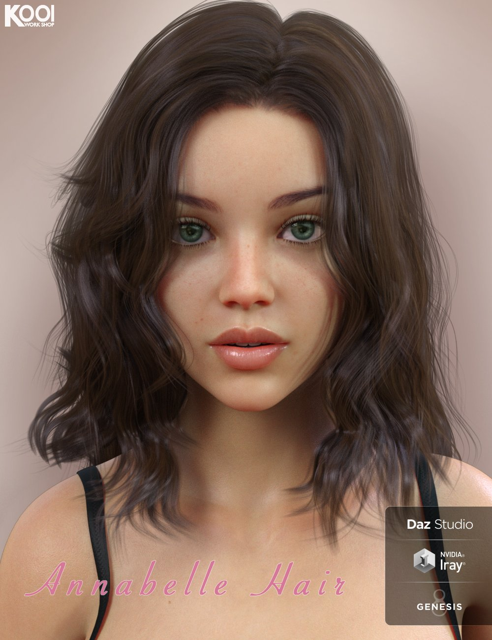 Annabelle Hair for Genesis 8 Female(s) by: Kool, 3D Models by Daz 3D