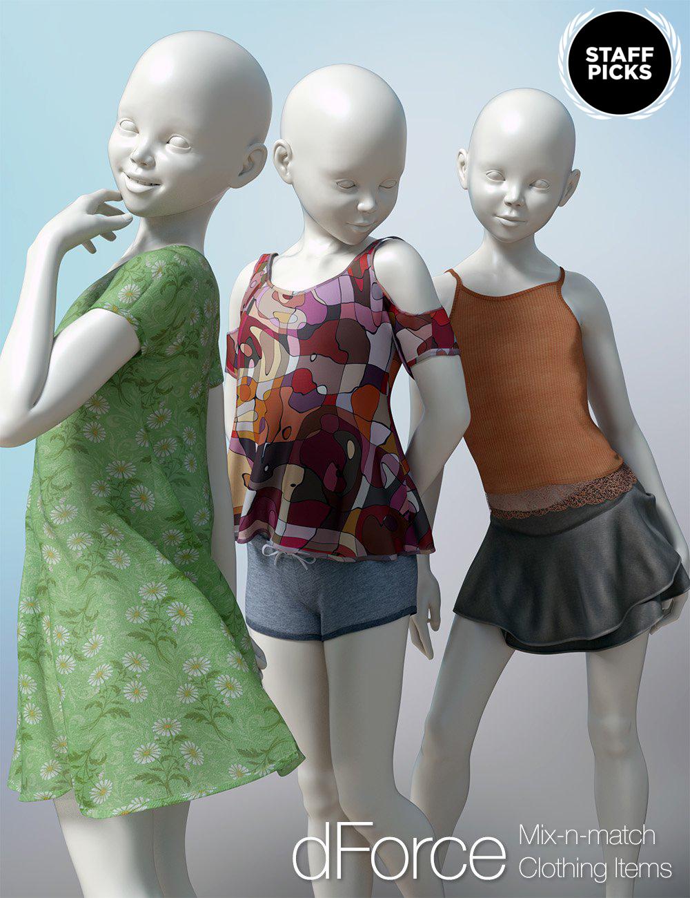 dForce Clothing Set 01 for Genesis 8 Female(s) by: 3D Universe, 3D Models by Daz 3D