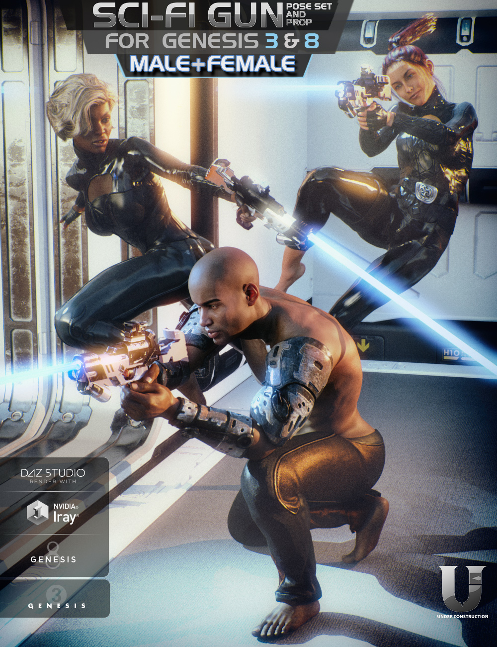 Sci-Fi Gun and Poses for Genesis 3 and 8 by: UnderConstruction, 3D Models by Daz 3D