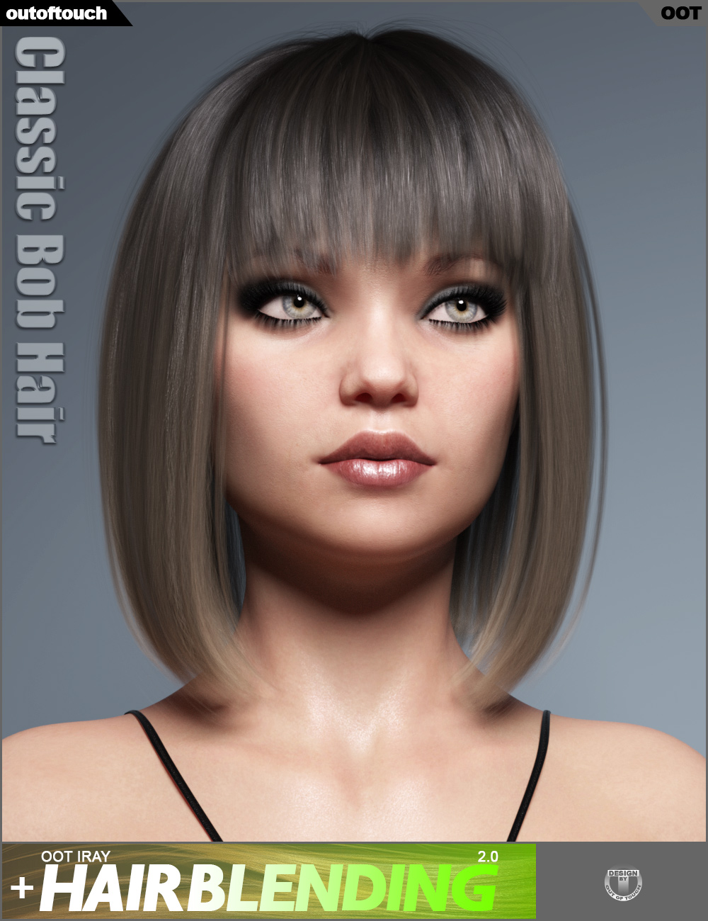 Classic Bob Hair for Genesis 3 and 8 Female(s) by: outoftouch, 3D Models by Daz 3D