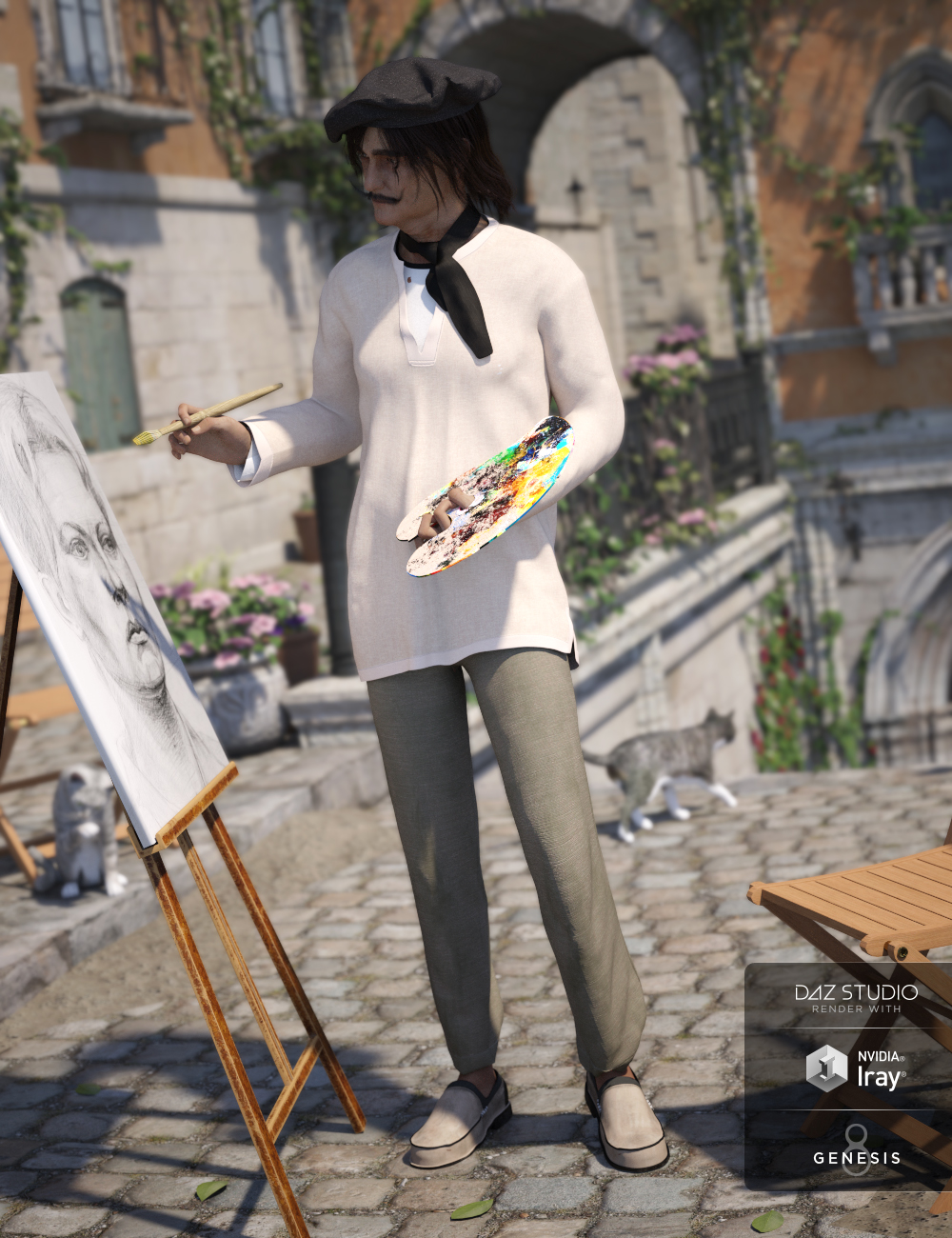 dForce French Painter Outfit for Genesis 8 Male(s) by: Barbara BrundonMoonscape GraphicsSade, 3D Models by Daz 3D