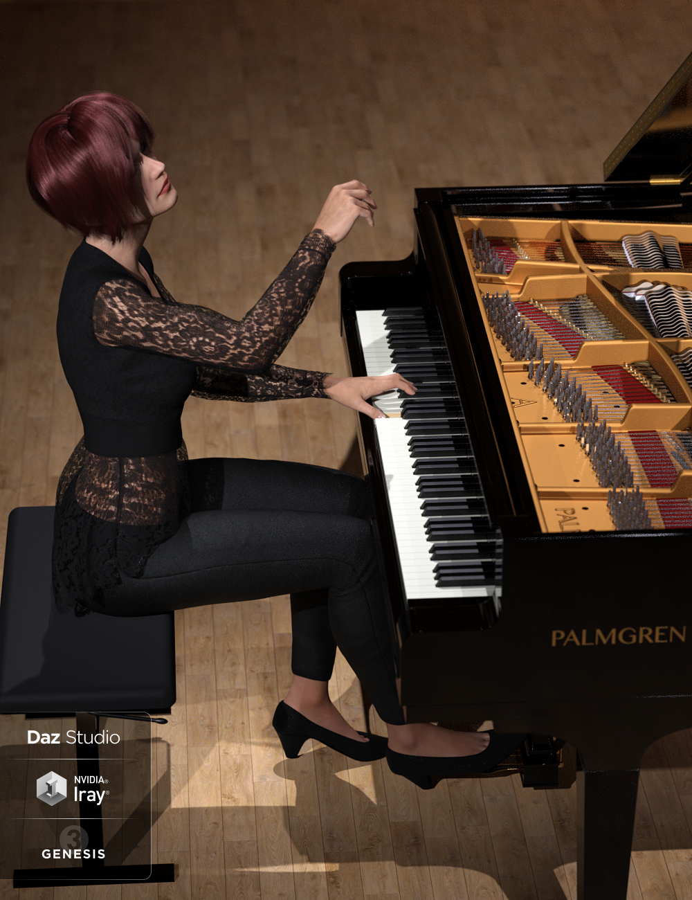 HD Grand Piano and Poses for Genesis 3 and 8 by: Protozoon, 3D Models by Daz 3D
