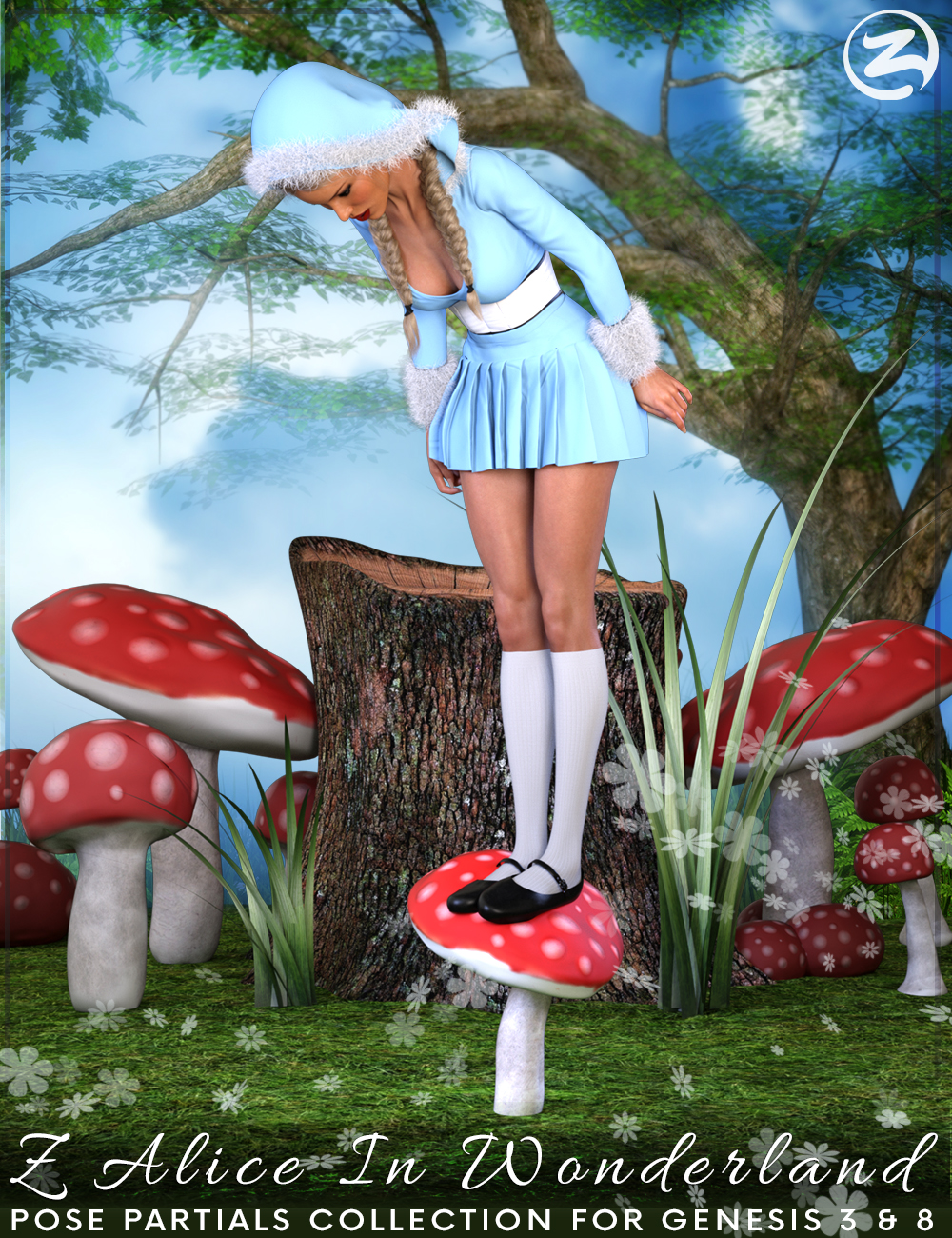 Z Alice In Wonderland - Poses, Partials and Expressions for Genesis 3 & 8 Female by: Zeddicuss, 3D Models by Daz 3D