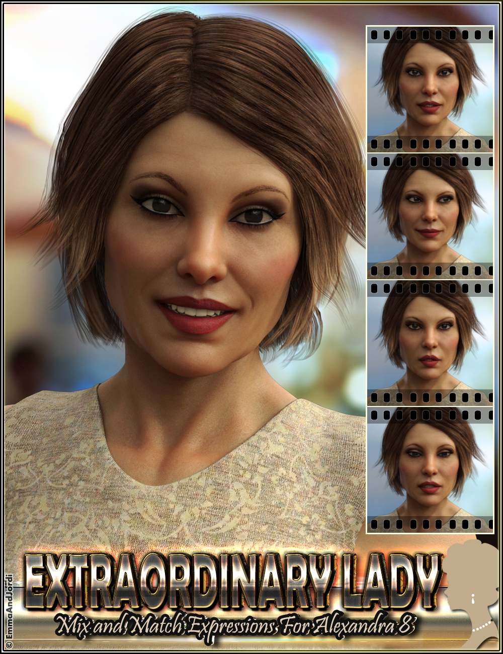 Extraordinary Lady Mix and Match Expressions for Alexandra 8 and Genesis 8 Female(s) by: EmmaAndJordi, 3D Models by Daz 3D