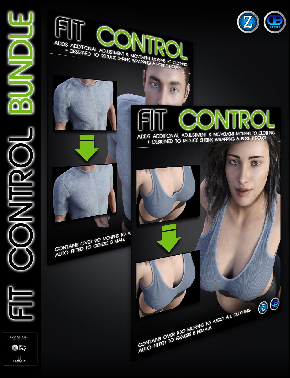 Fit Control Bundle for Genesis 8 Female(s) and Male(s) by: Zev0Discobob, 3D Models by Daz 3D