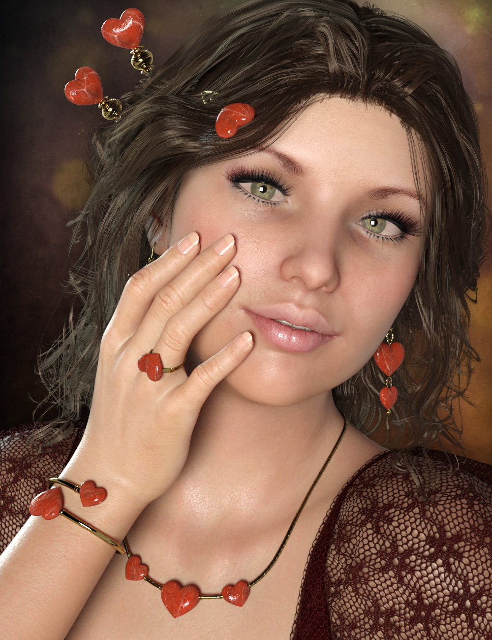 Little Heart Jewelry for Genesis 8 Female(s) by: esha, 3D Models by Daz 3D