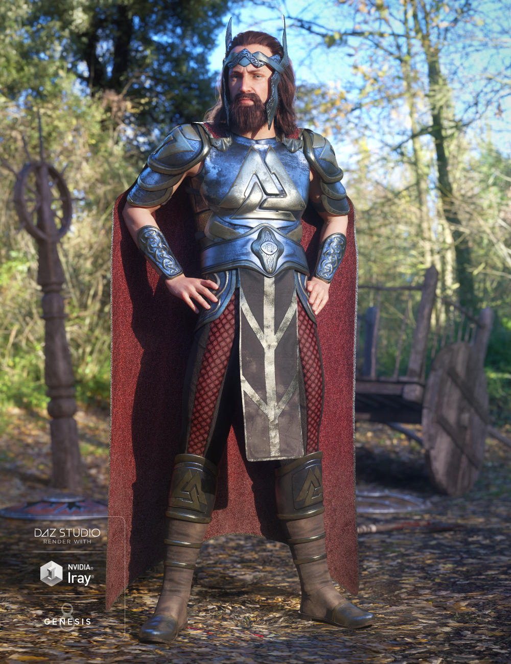 dForce Warrior King Outfit for Genesis 8 Male(s) by: LuthbellinaNikisatez, 3D Models by Daz 3D