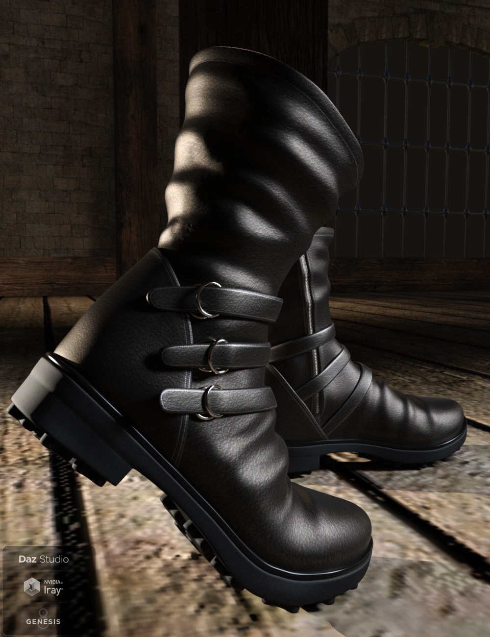 Strap Boots for Genesis 8 Male(s) by: tentman, 3D Models by Daz 3D