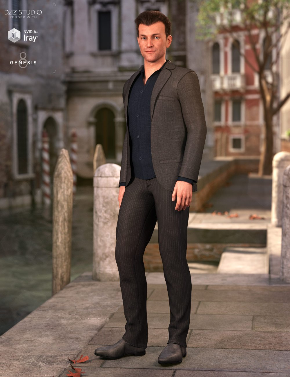 dForce Casual Suit Outfit for Genesis 8 Male(s) by: DirtyFairyNikisatez, 3D Models by Daz 3D