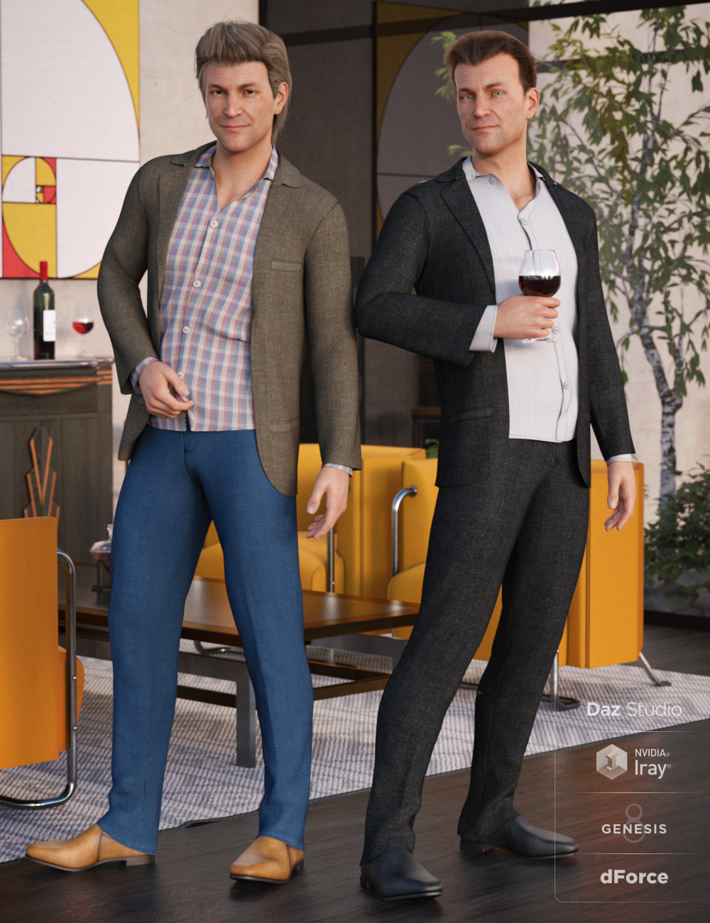 dForce Casual Suit Outfit Textures by: DirtyFairy, 3D Models by Daz 3D
