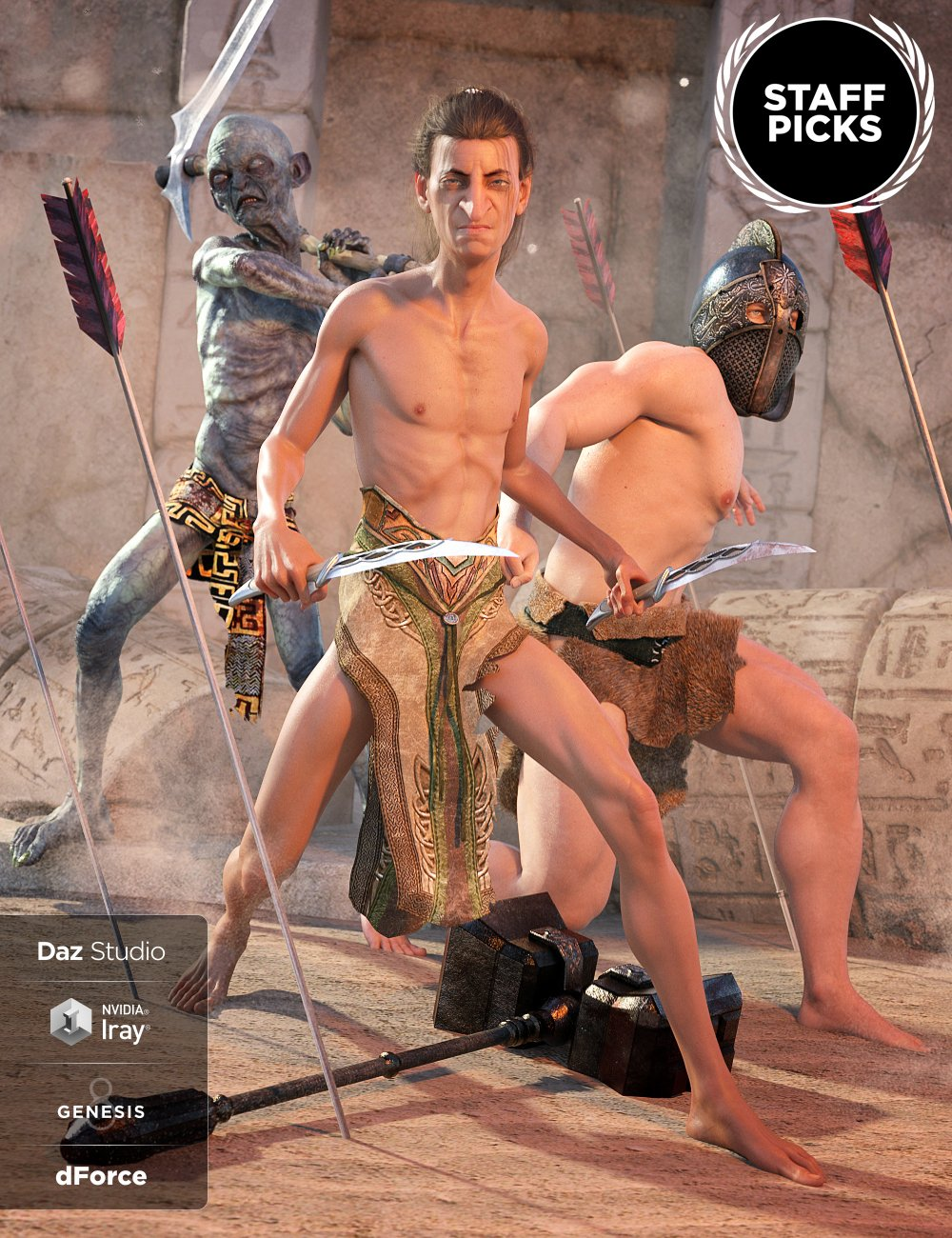 dForce Loincloth Collection for Genesis 8 Male(s) by: Lyrra MadrilShox-Design, 3D Models by Daz 3D