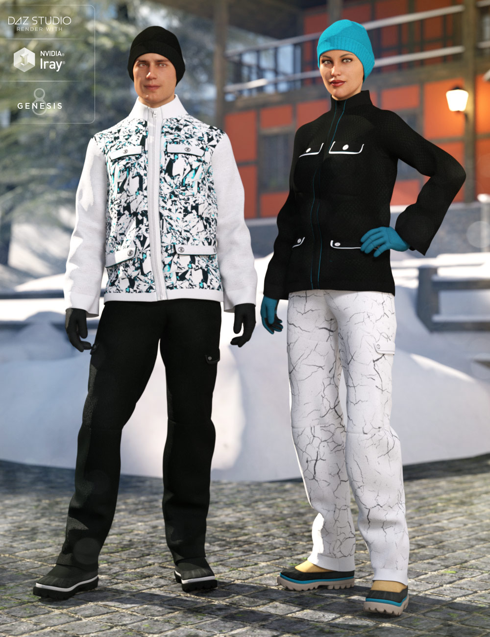dForce Winter Snow Outfit for Genesis 8 Male(s) and Female(s) by: DirtyFairyNikisatez, 3D Models by Daz 3D