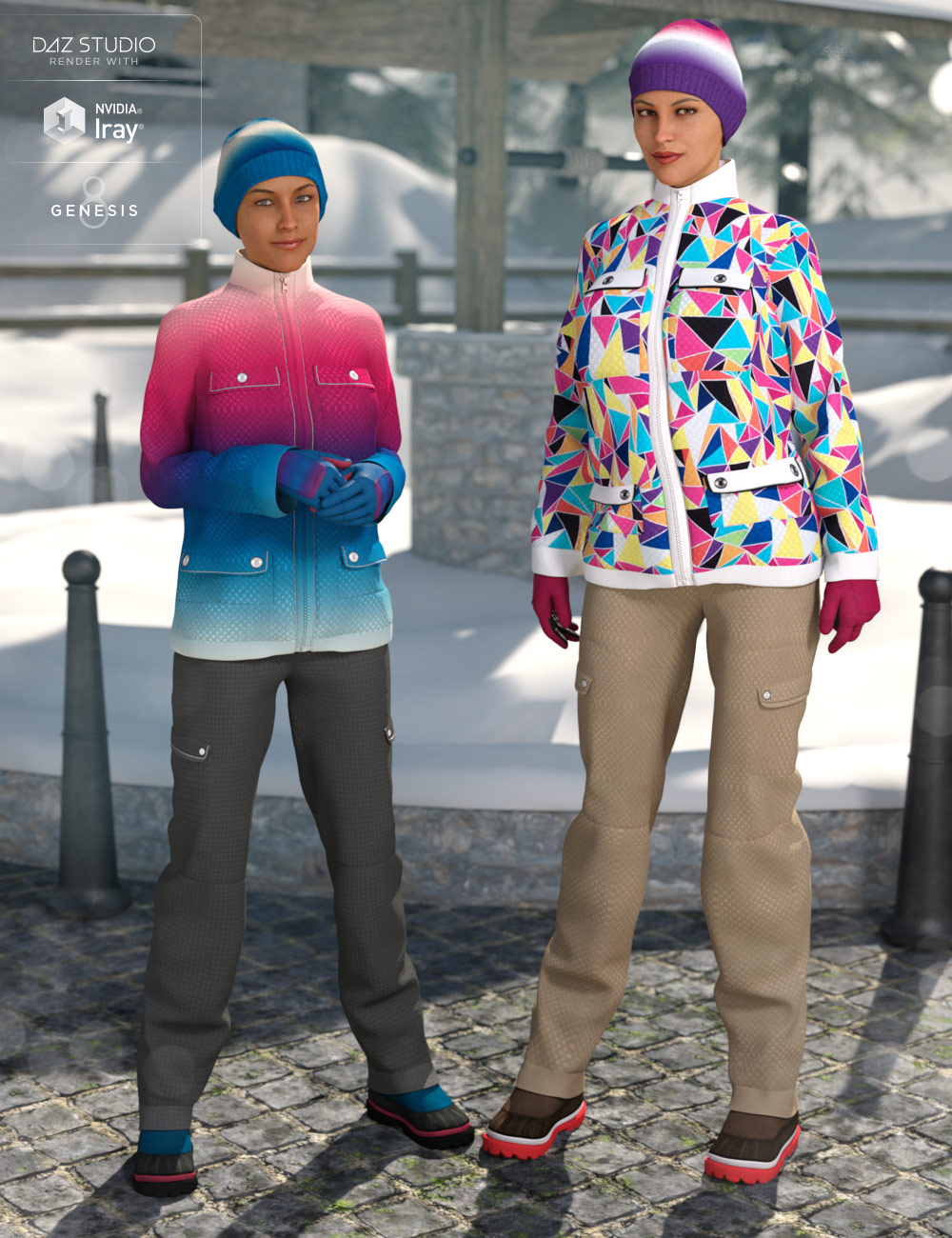 dForce Winter Snow Outfit Female Textures by: DirtyFairy, 3D Models by Daz 3D