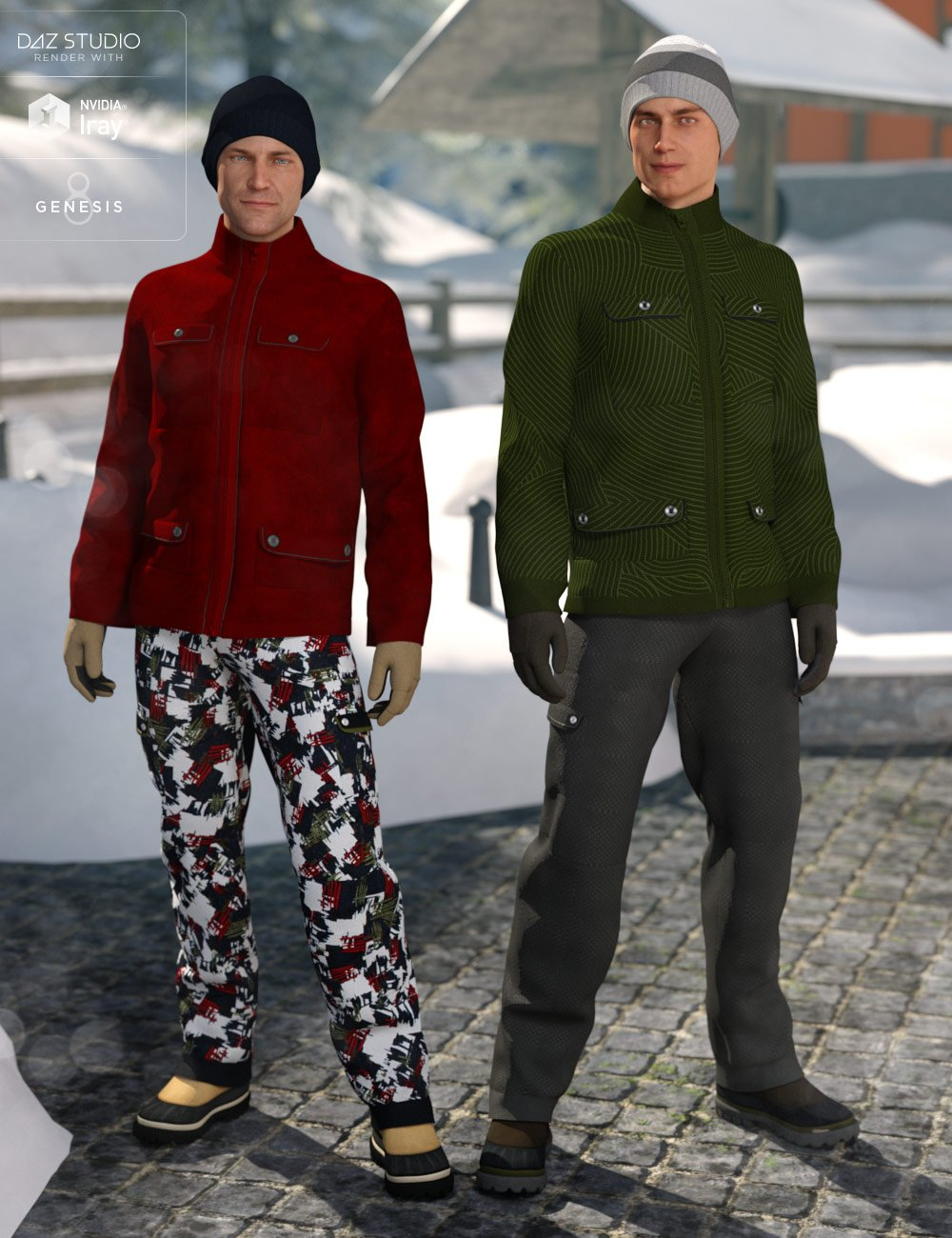 dForce Winter Snow Outfit Male Textures by: DirtyFairy, 3D Models by Daz 3D