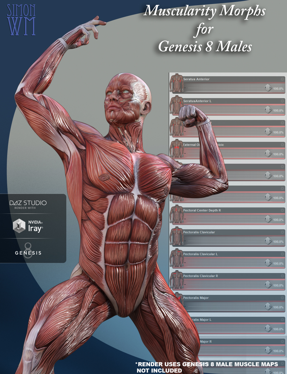 Muscularity Morphs for Genesis 8 Male(s) by: SimonWM, 3D Models by Daz 3D
