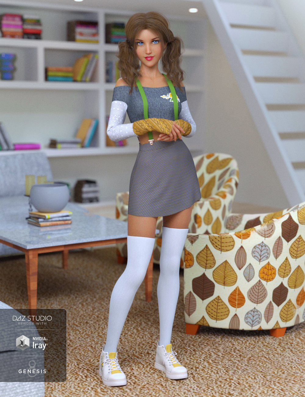 dForce Cherry Blossom Outfit for Genesis 8 Female(s) by: Anna BenjaminNikisatez, 3D Models by Daz 3D