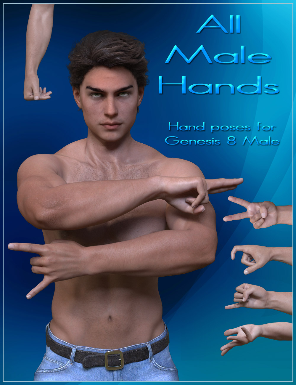 All Male Hands - Hands Poses for Genesis 8 Male by: ilona, 3D Models by Daz 3D