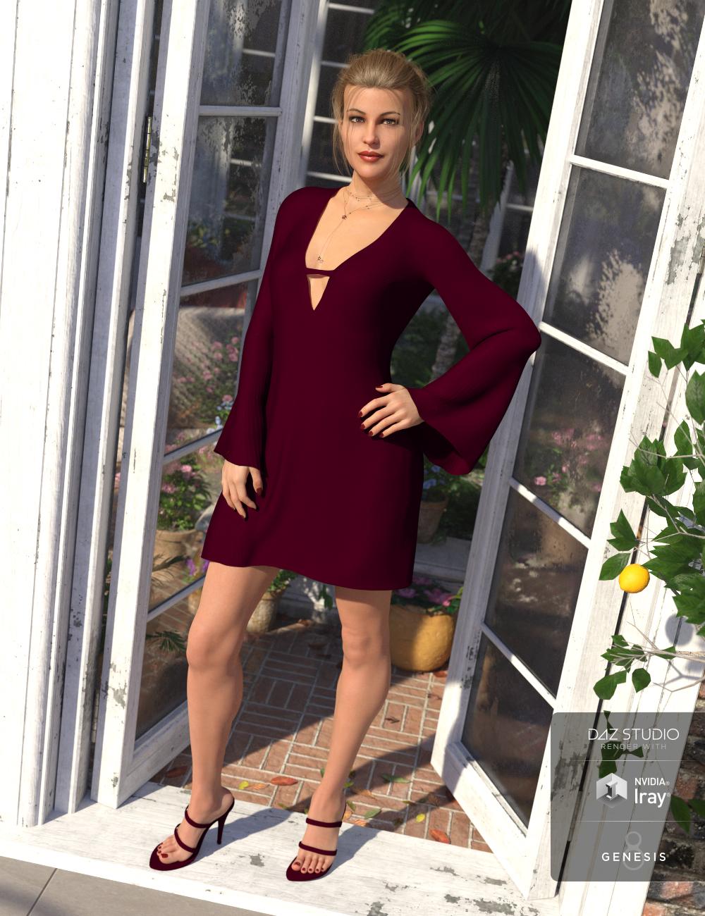 dForce Bell Sleeve Shift Dress for Genesis 8 Female(s) by: Ryverthorn, 3D Models by Daz 3D