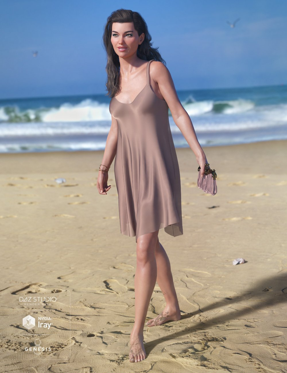 dForce Chiffon Slip Dress for Genesis 8 Female(s) by: Ryverthorn, 3D Models by Daz 3D