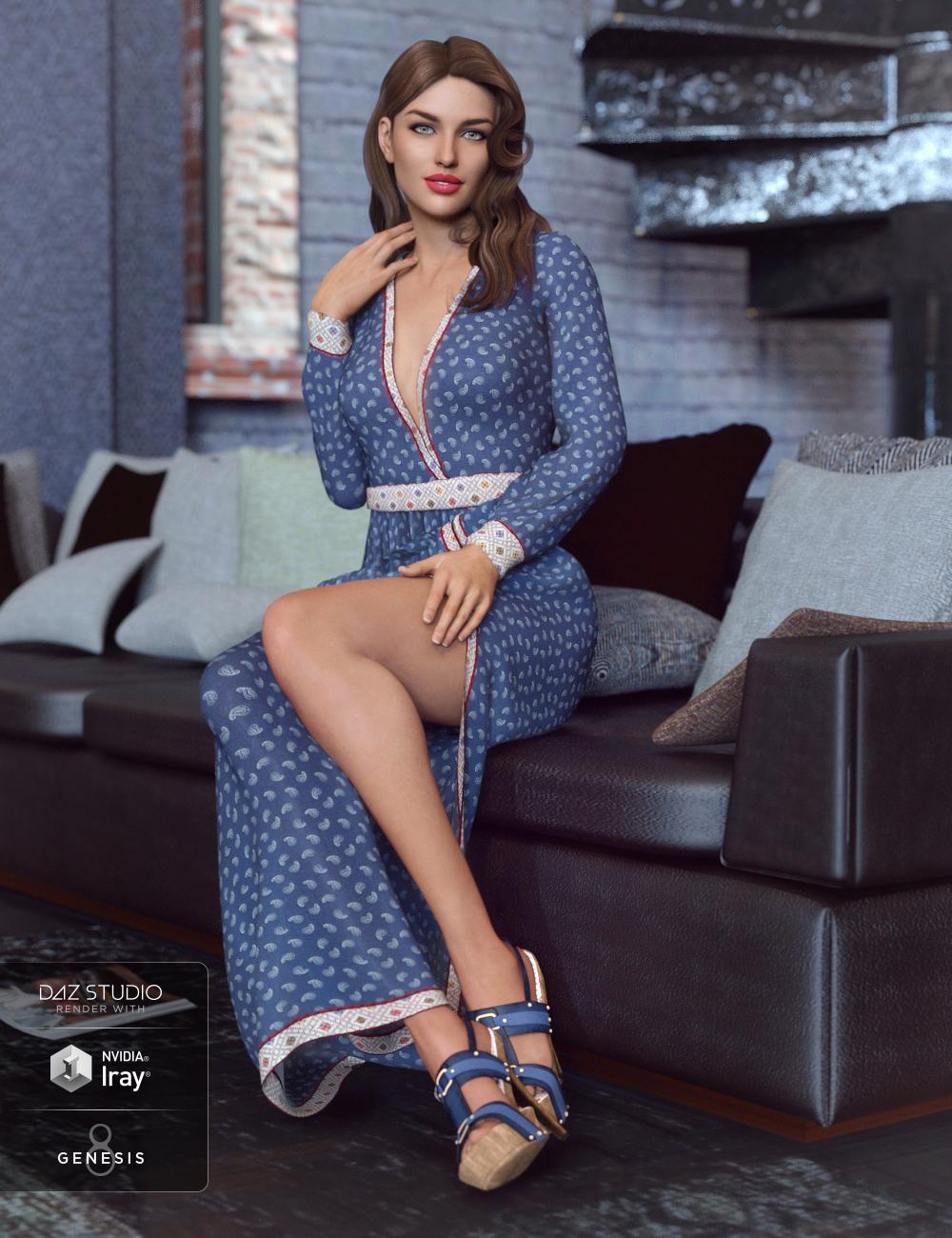 dForce V-Neck Maxie Dress for Genesis 8 Female(s) by: Anna BenjaminBarbara Brundon, 3D Models by Daz 3D