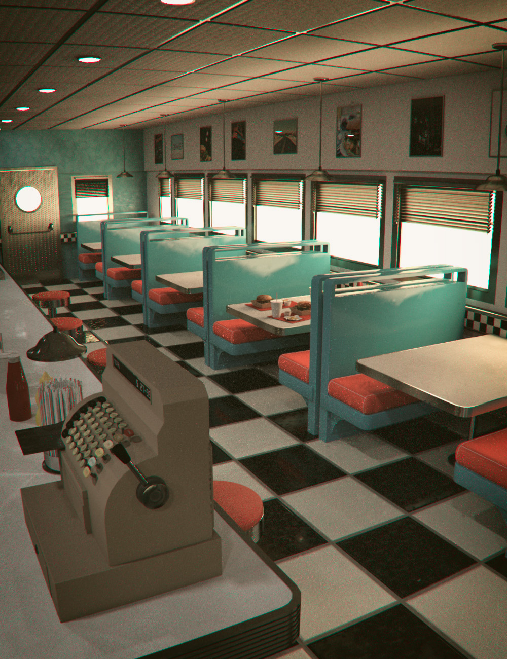 American Diner 60 S 3d Models And 3d Software By Daz 3d
