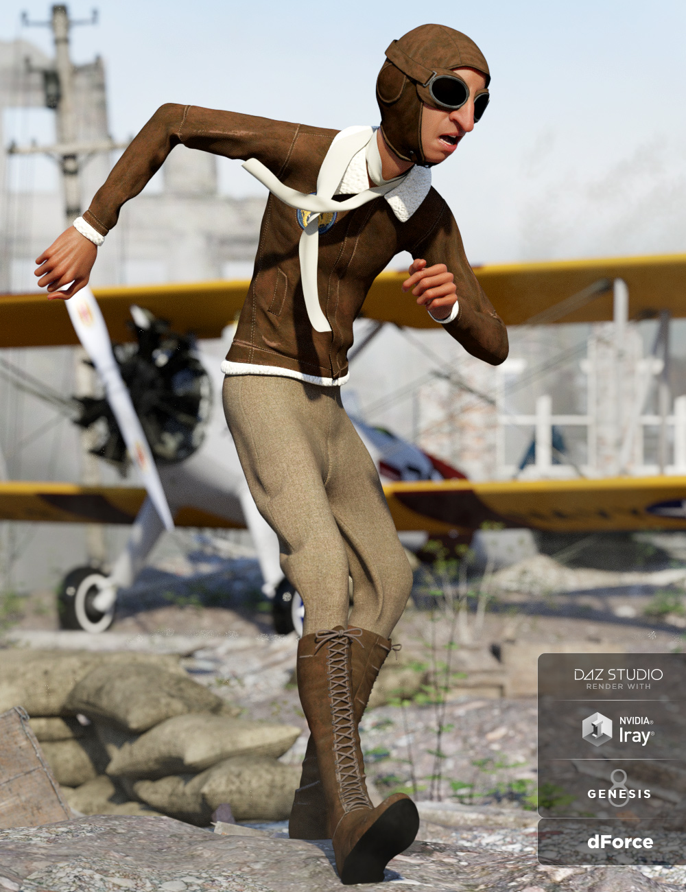 dForce Retro Aviator Outfit for Genesis 8 Male(s) by: Anna BenjaminNikisatez, 3D Models by Daz 3D