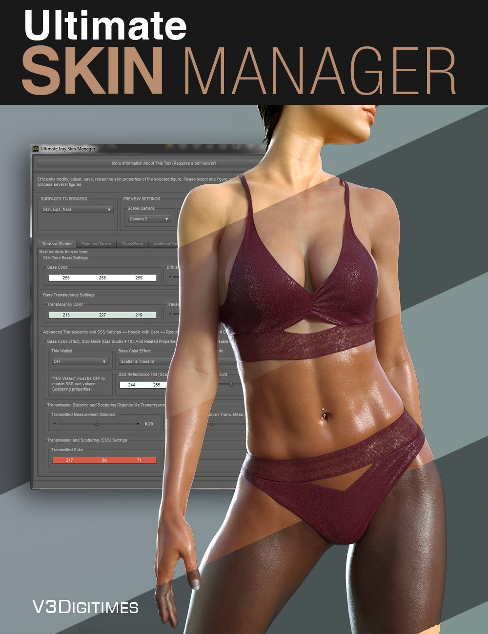 Ultimate Iray Skin Manager by: V3Digitimes, 3D Models by Daz 3D