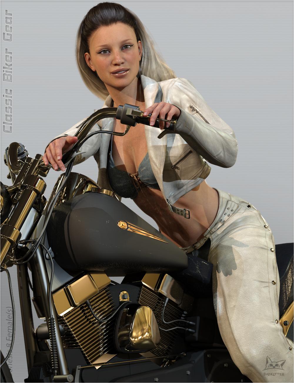 Classic Biker Gear for Genesis 8 Female(s) by: BadKitteh Co, 3D Models by Daz 3D