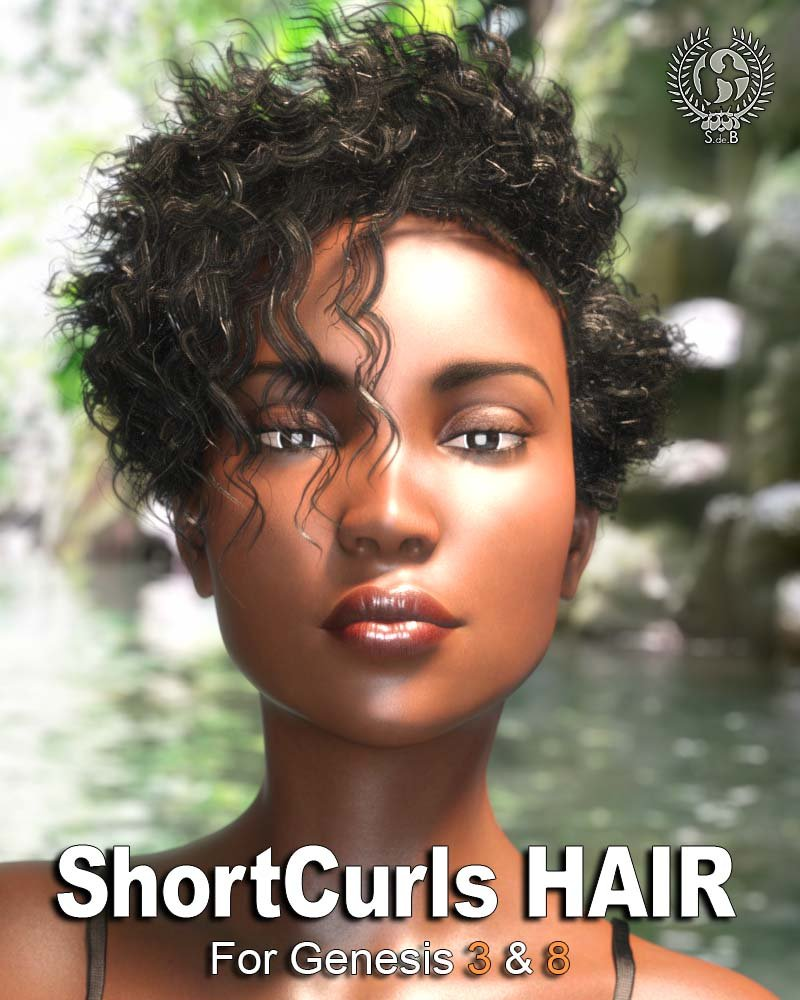 Short Curls Hair for Genesis 3 and 8 by: SamSil, 3D Models by Daz 3D