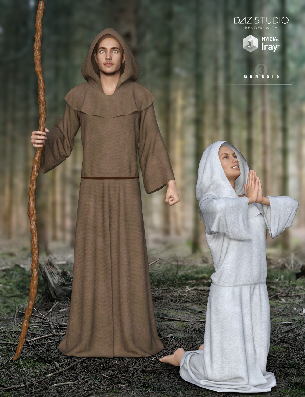 dForce Midnight Monk for Genesis 3 by: midnight_stories, 3D Models by Daz 3D