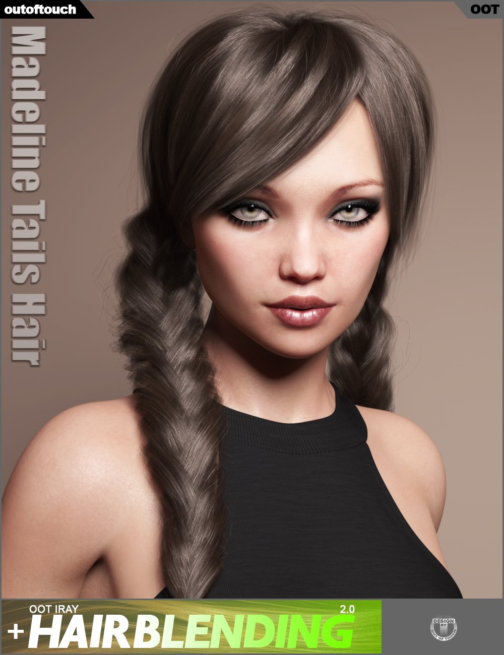 Madeline Tails Hair for Genesis 3 and 8 Female(s) by: outoftouch, 3D Models by Daz 3D