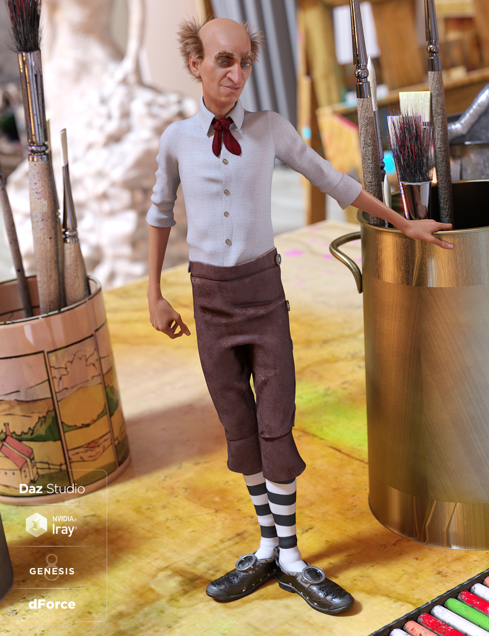 dForce House Brownie Outfit for Genesis 8 Male(s) by: MadaMoonscape GraphicsSade, 3D Models by Daz 3D
