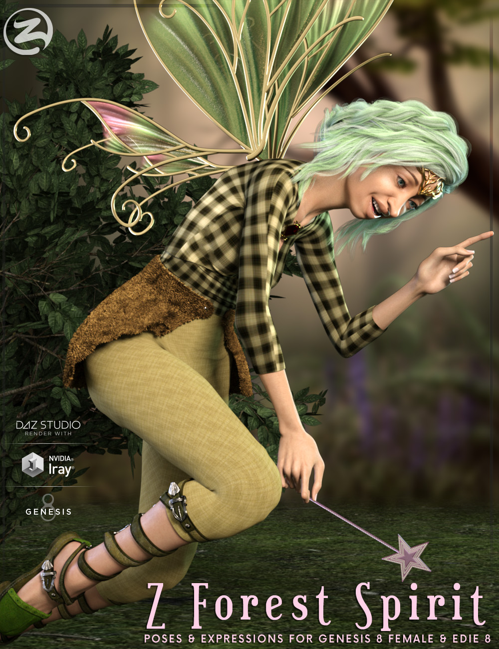 Z Forest Spirit - Poses and Expressions for Genesis 8 Female and Edie 8 by: Zeddicuss, 3D Models by Daz 3D
