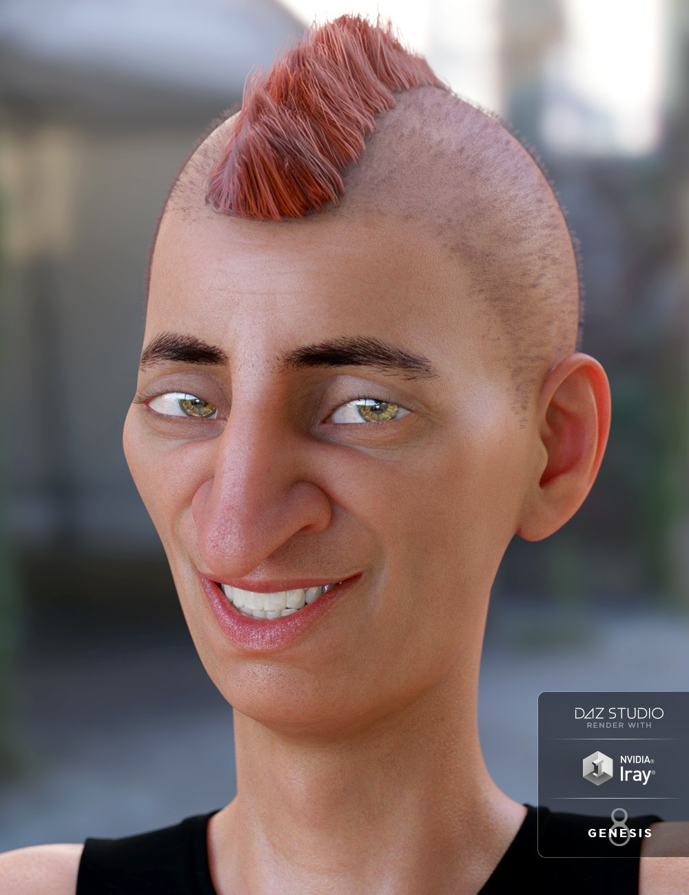 Short Mohawk Hair for Genesis 3 and 8 Male(s) by: 3DCelebrity, 3D Models by Daz 3D