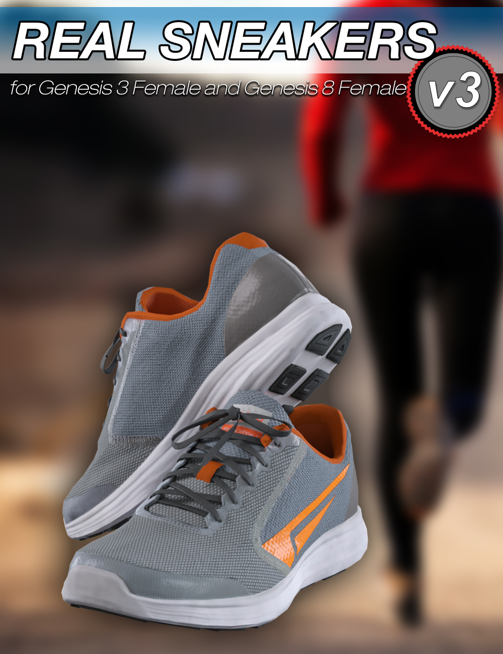 Slide3D Real Sneakers III for Genesis 3 and 8 Female(s) by: Slide3D, 3D Models by Daz 3D