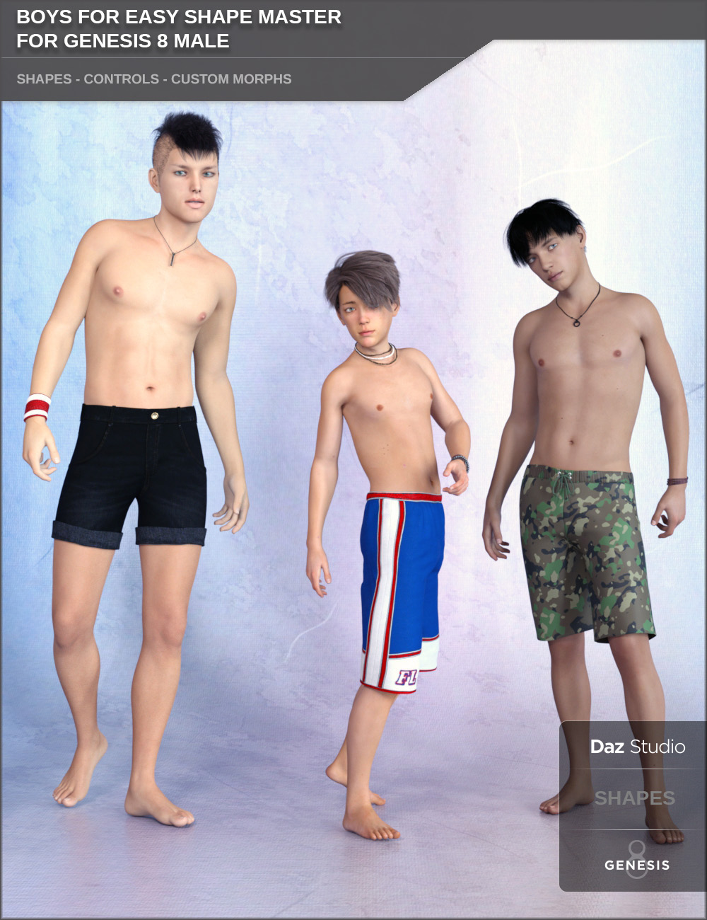 Boys for Easy Shape Master for Genesis 8 Male by: SF-Design, 3D Models by Daz 3D