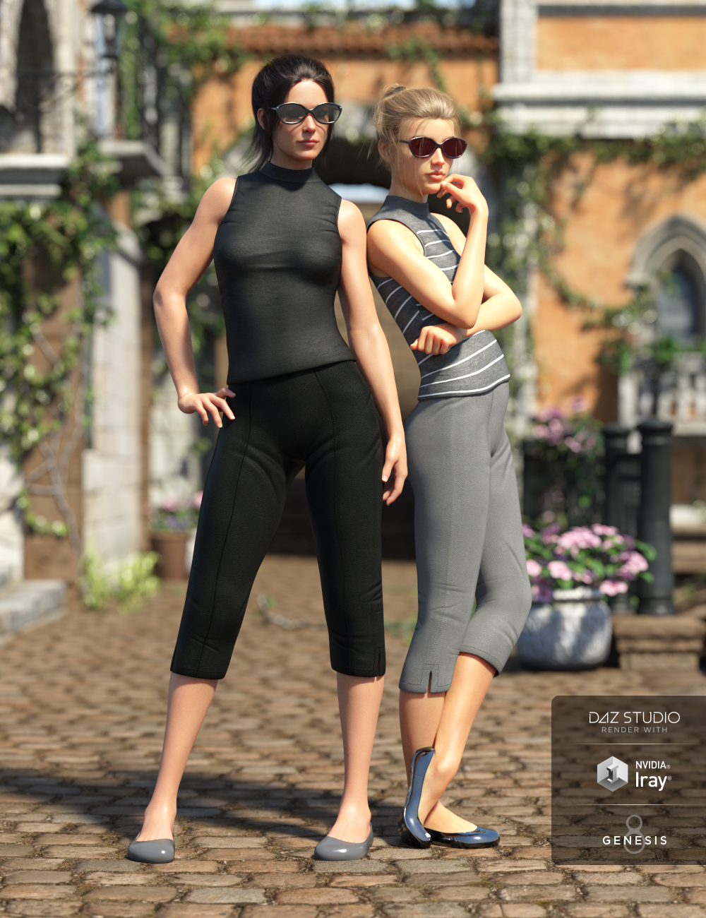 Vintage Summer Clothing Set for Genesis 8 Female(s) by: CynderBlue, 3D Models by Daz 3D