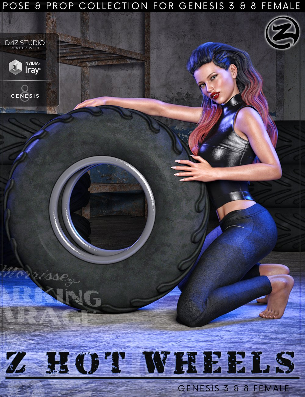 Z Hot Wheels - Props and Poses for Genesis 3 and 8 Female by: Zeddicuss, 3D Models by Daz 3D