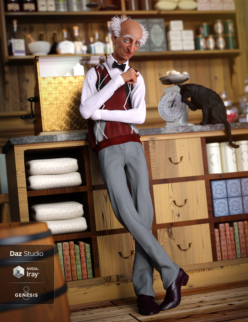 Sweater Vest Outfit for Genesis 8 Male(s) by: ArienLyrra Madril, 3D Models by Daz 3D