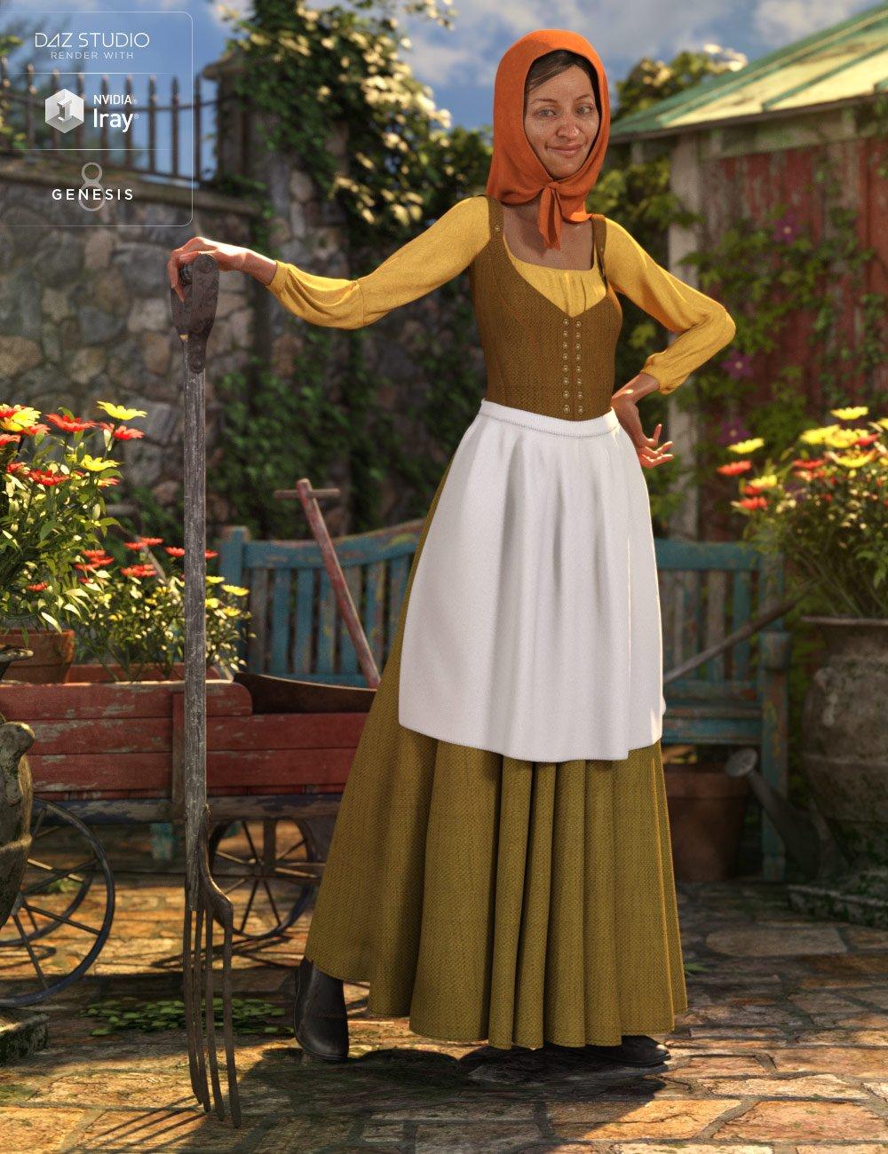 dForce Peasant Dress for Genesis 8 Female(s) by: NikisatezMoonscape GraphicsSade, 3D Models by Daz 3D