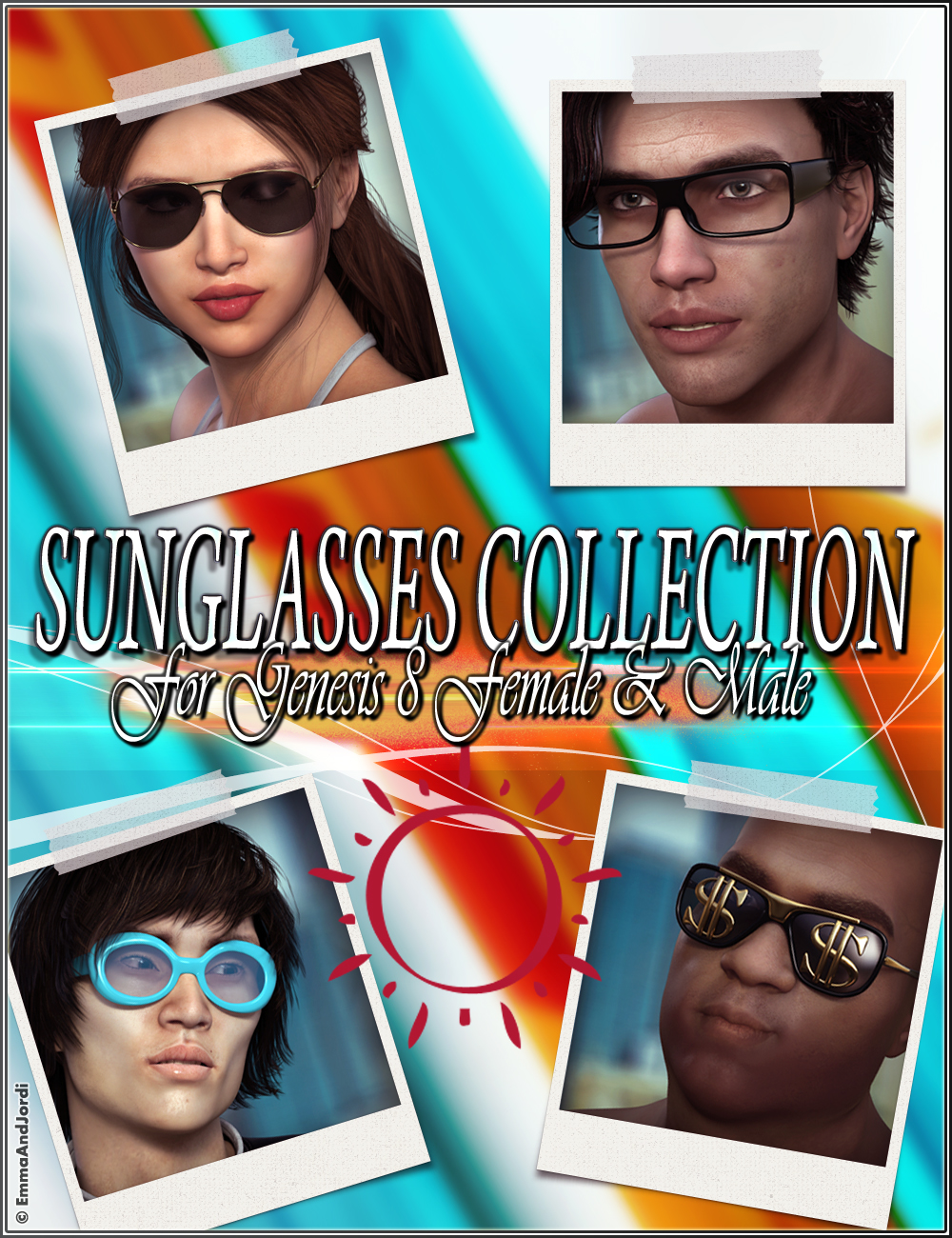 EJ Sunglasses Collection for Genesis 8 Female(s) and Male(s) by: EmmaAndJordi, 3D Models by Daz 3D