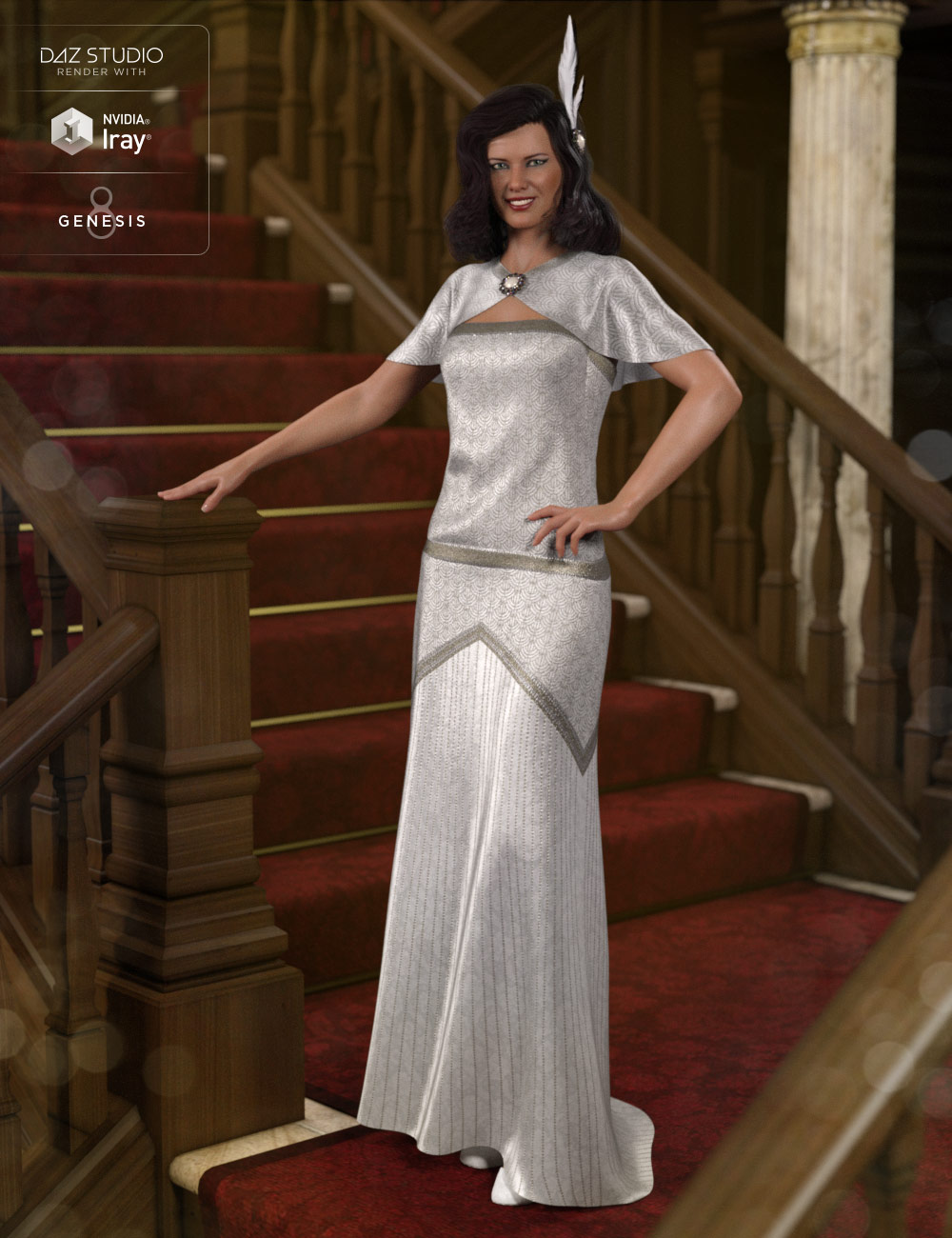 dForce 1920s Evening Gown Outfit for Genesis 8 Female(s) by: Anna BenjaminNikisatez, 3D Models by Daz 3D