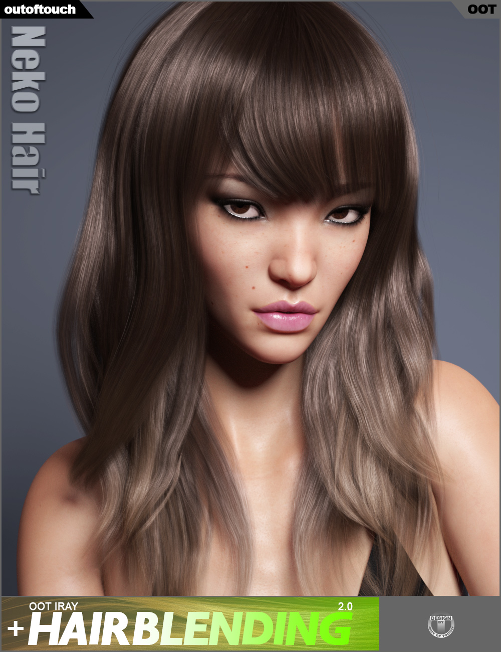 Neko Hair for Genesis 3 and 8 Female(s) by: outoftouch, 3D Models by Daz 3D