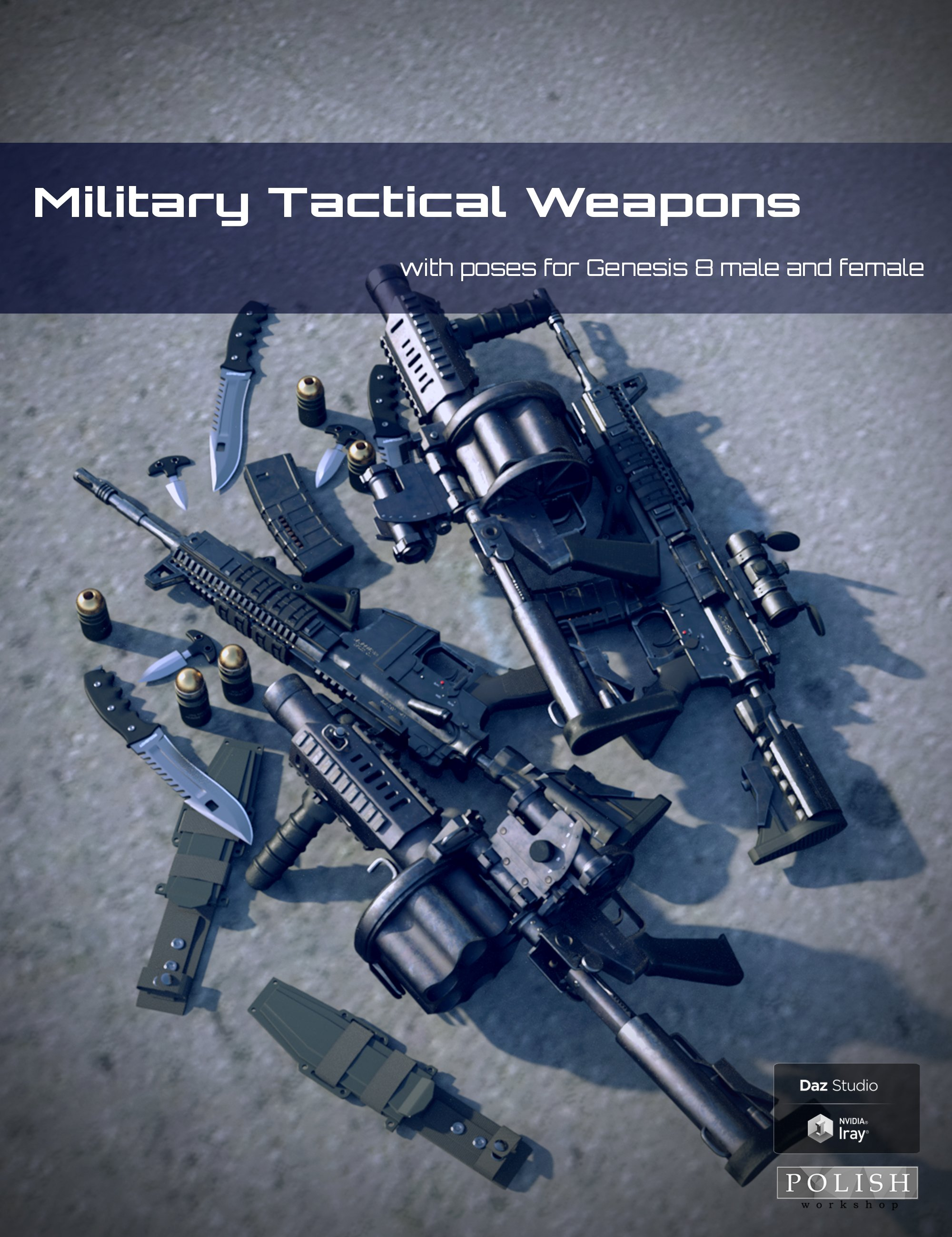 Military Tactical Weapons and Poses for Genesis 8 by: Polish, 3D Models by Daz 3D