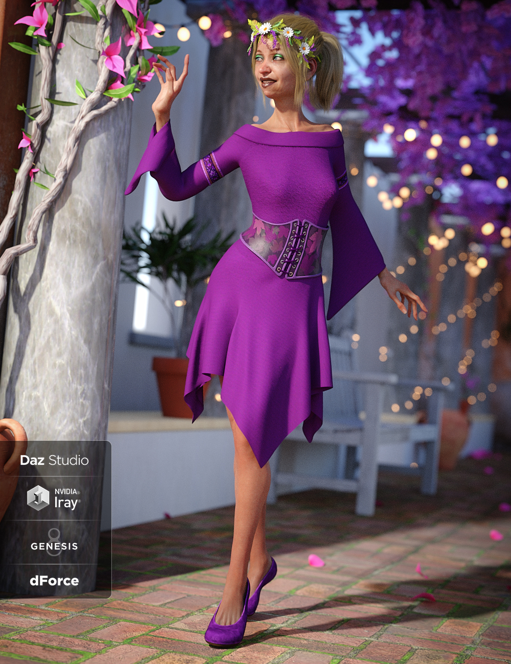 dForce Woodland Spirit Outfit for Genesis 8 Female(s) by: Ryverthorn, 3D Models by Daz 3D