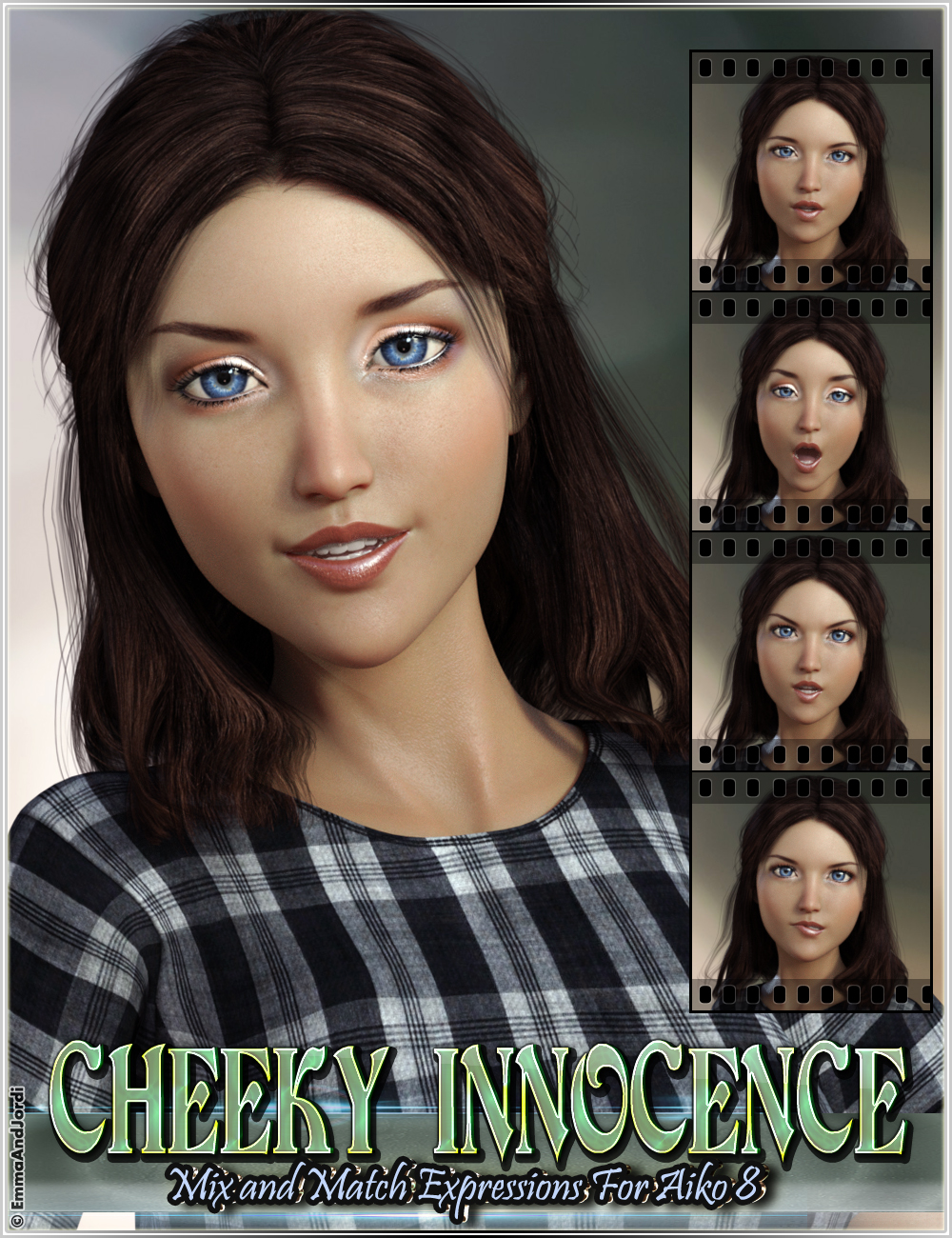 Cheeky Innocence Mix and Match Expressions for Aiko 8 and Genesis 8 Female(s) by: EmmaAndJordi, 3D Models by Daz 3D