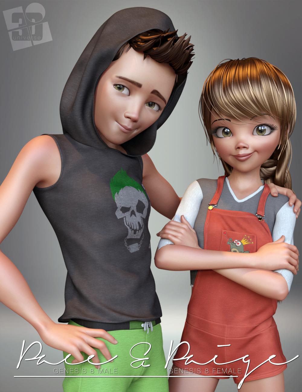 Paige and Pace Mega Bundle by: 3D Universe, 3D Models by Daz 3D